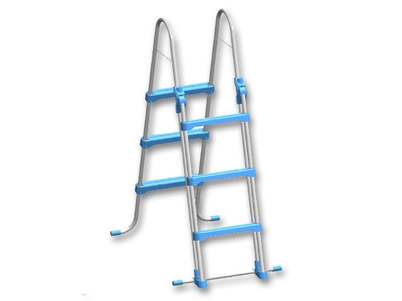Secure ladder for inflatable basins