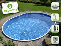 Assembled pool AZURO 404DL with filtration - ECONOMY package