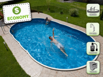 Assembled pool AZURO 405DL with filtration - Economy package